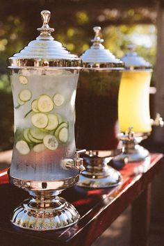 I like the idea of having something like this so people don't have to wait at the bar for water/lemonade/etc. Maybe outside with the lawn games too. #WeddingPhotos