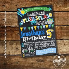 Splish Splash Party Invitation Backyard Bash Birthday Pool Invite Water Balloons Chalkboard Digital Printable