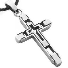 Small Deco Stainless Steel Cross Necklace