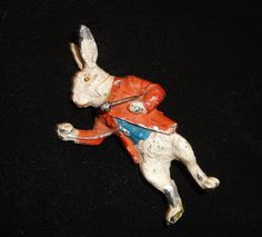 WHITE RABBIT from 'ALICE IN WONDERLAND' Cold painted spelter. Early 20th Century.