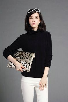 Autumn and winter women's 100% cashmere turtleneck sweater solid color pullover long-sleeve slim sweater female thick