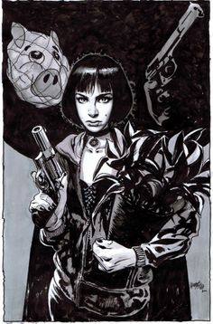 Mathilda (and Léon) by Tony Harris :: via comicartfans.com