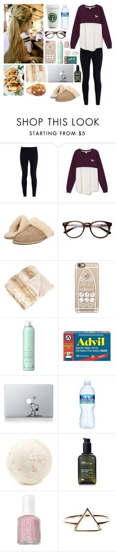 """Hangover"" by coloradomustang0312 ❤ liked on Polyvore featuring NIKE, Victoria's Secret, UGG Australia, Saro, Casetify, Drybar, Nestlé, Origins, Essie and LazyDay"
