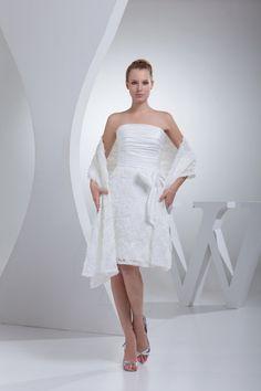 Robe de mariée naturel courte vie en dentelle de bustier