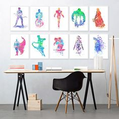 Style Your Home Today With This Amazing Original Watercolor Marvel Comics And DC Comics Superheroes Unframed Wall Canvas For $69.30  Discover more canvas selection here http://www.octotreasures.com  If you want to create a customized canvas by printing your own pictures or photos, please contact us.