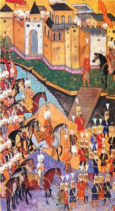 Illustrations from the Nusretname showing Ottoman soldiers  An account of the Turkish conquest of Georgia in 1578 by Gelibolulu Mustafa Ali, 1582. Departure from the palace of the army for the war, 1578