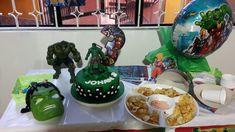Decoracion, torta y pasabocas fieta hulk Hulk, Cake, Desserts, Food, Food Cakes, Party, Tailgate Desserts, Deserts, Kuchen