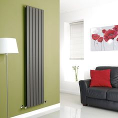 Milano Alpha   Anthracite Vertical Double Slim Panel Designer Radiator  1780mm X 420mm