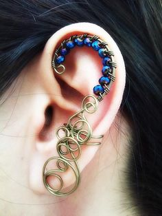 Cool wire and beads earring cuff. Craft ideas from LC.Pandahall.com             #pandahall