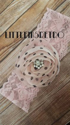 Pink Polka Dot Tulle Flower on Lace Headband with by LittleMsRetro