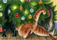 "Kitty Art - ""Where Is My Present?"" by Irina Garmashova Christmas Animals, Christmas Cats, Christmas Time, Merry Christmas, Vintage Christmas Cards, Christmas Pictures, Illustration Noel, Illustrations, I Love Cats"