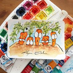 My funny watercolor postcards))) Cool Art Drawings, Pencil Art Drawings, Doodle Drawings, Colorful Drawings, Doodle Art, Art Drawings Sketches, Watercolor Art Landscape, Watercolor Drawing, Watercolor Illustration