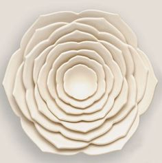 Multiple bowl/platter forms attached to smaller and smaller form for radial design of flower