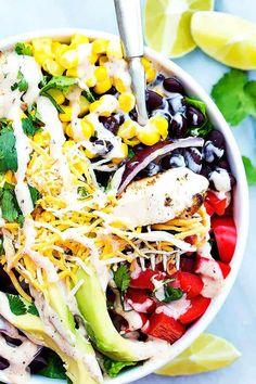 Southwest Chicken Salad   Creme De La Crumb Mexican Food Recipes, New Recipes, Salad Recipes, Healthy Recipes, Healthy Foods, Broccoli Salad With Raisins, Turkey Salad, Clean Eating, Healthy Eating