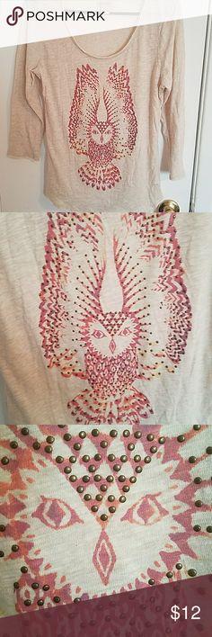 Lucky Brand Owl copper grommet t shirt Light beige 3/4 sleeve medium. Lucky Brand Tops Tees - Long Sleeve