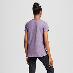 Women's Short Sleeve Relaxed V-Neck Tee Purple Triblend XL - Mossimo Supply Co., Durable