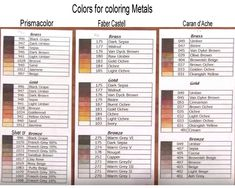 Colours for colouring metals (pencils)