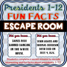 The Presidents 1-12 Escape Room will take students on a secret mission around the classroom! This escape room has students decode fun and interesting facts about Presidents 1-12. This is the perfect resource to introduce presidents, to have a day of fun or