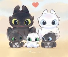 💞 Happy family 💞 So cuties . Cute Disney Drawings, Cute Animal Drawings, Kawaii Drawings, Httyd Dragons, Cute Dragons, Kawaii Disney, Disney Art, Toothless And Stitch, How To Train Dragon