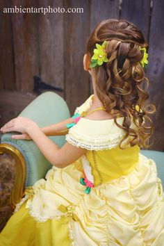 Disney Princess Belle hair and costume for Halloween, princess party, or child portrait