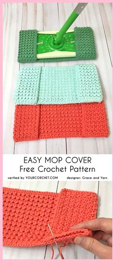 Easy Mop Cover Free Crochet Pattern easy pattern reusable crunch stitch last minute gift idea You definitely don't want to miss this pattern. This is a very useful mop cover and easy to make. Its strong texture, needed for washing and scrubbing, was Excep Crochet Gifts, Crochet Baby, Knit Crochet, Crochet Ideas, Easy Crochet Projects, Crochet Hoodie, Crochet Owls, Blanket Crochet, Crochet Braids