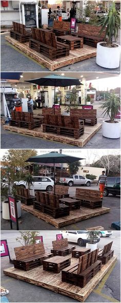 Give your outdoor space a special look by renovating it with this pallets patio deco lounge. This wooden deco set has two middle tables, two side benches, and two couches. The entire furniture set is crafted from recycling wood pallets. It is also a great project to create for business purposes. This deco set is a fabulous choice for restaurants and cafes.