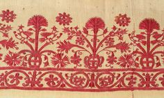 "Crete Embroidery 18th c., silk on cotton, good condition, 9"" x 103"""