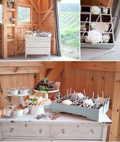 A California Vineyard Wedding: Jessica + Ben Archive Rentals Dresser Antique Stand Farm Barn Dessert Holder Tray