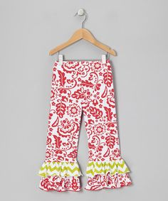 Take a look at this Red Scroll Triple Ruffle Pants - Infant, Toddler & Girls by Bubble & Squeak on #zulily today!