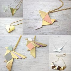 Origami, my love – bijoux Leather Necklace, Diy Necklace, Leather Jewelry, Leather Craft, Origami Jewelry, Origami Art, Wooden Jewelry, Handmade Jewelry, Diy Collier