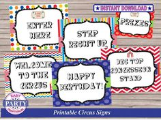 Circus Birthday Party Signs Instant by EasyPartyPrintables on Etsy