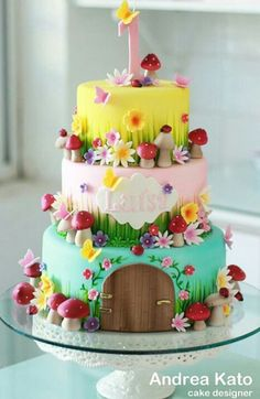 Amazing toadstool & flower based cake