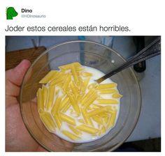 Estos cereales están horribles. #humor #risa #graciosas #chistosas #divertidas
