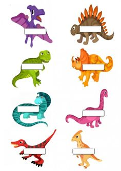 Dinosaur name tags - 8 to a page Preschool Name Tags, Preschool Cubbies, Dinosaurs Preschool, Baby Dinosaurs, Preschool Activities, Dinosaur Classroom, Name Tag For School, Cubby Tags, Dinosaur Era