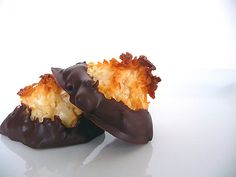Coconut macaroons dipped in chocolate. Fabulous for a French dinner party or a unique 1920s birthday party dessert.
