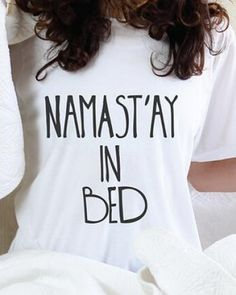 Letter t shirt with funny sayings nama stay in bed pattern for women