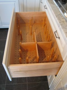 A pots and pans drawer organizer will keep your favorite cooking vessels securely in place and prevent damage to the finish.