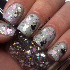 Mickey & Minnie Nails - #nails #mickey #minnie #disney #indie #glitter #nailpolish #polish