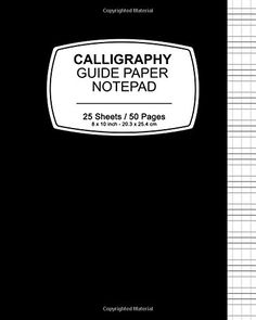 "Calligraphy Guide Paper Notepad: Black Cover,Notepad, 8"" ..."