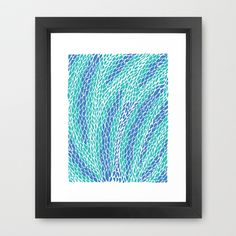 Flying Feathers Framed Art Print by Pom Graphic Design  - $35.00 #feathers #pattern #home #poster #print #turquoise #teal #blue #nature #decor
