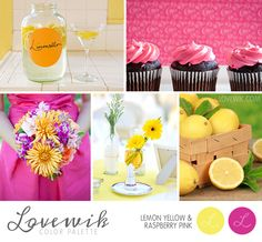 Lemon Yellow and Raspberry Pink Wedding Color Palette