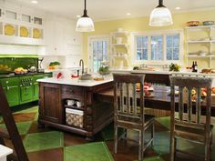 Starting with a period range found online, designer Regina Bilotta of Bilotta Kitchens injects vintage flavor and color into this kitchen design.