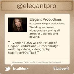 Summit County Mom, Erin Pellant is on Twitter @elegantpro's Twitter profile courtesy of @Pinstamatic (http://pinstamatic.com)