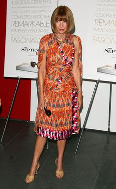"""Anna Wintour attends the New York special screening of """"The September Issue"""" in a killer patterned dress."""
