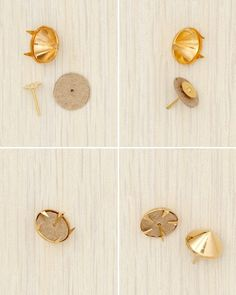 Earrings How-To  Trace a stud onto chipboard twice. Using a craft knife, cut out along the inside of your traced line to ensure the pieces will fit just inside the stud. Use a pushpin to poke a small hole in the center or top of each.