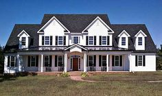Country Farm House Plan: This house is too big for our liking but I LOVE the classic white w/ black roof and shutters.