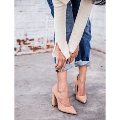 Blush Pointed Toe Suede Chunky Heels Pumps for Office Ladies for Work, Going out | FSJ