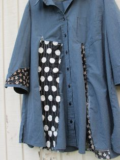 upcycled blue and polkadot Tunic / romantic Upcycled by CreoleSha