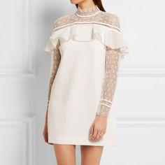 - Self-Portrait Ruffled Guipure Lace and Crepe Mini Dress, $395
