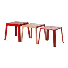 IKEA PS 2012 Nesting tables, set of 3 - red/beech - IKEA